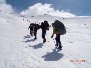 Climbing up Mt. Shasta