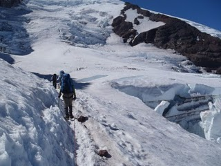 Climbing up majestic Mount Rainier, photo by Don Kenyon