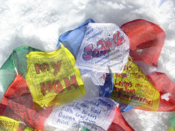 Prayer Flag carried to the summit. Photo by Karen Kilian.