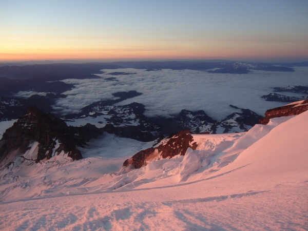 Sunrise over Selah from the upper flanks of Mt. Rainier. Photo by Lisa Carlson.