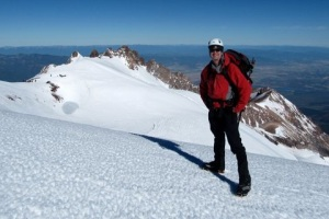 Dr. Keith Heaton ascends Mt. Shasta.