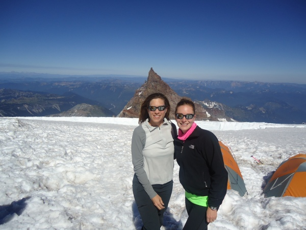 Andrea & Carol just hanging out on the Ingraham Flats, Mt. Rainier.