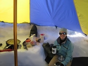 Enjoying a hot drink on Ingraham Flats, Mt. Rainier.