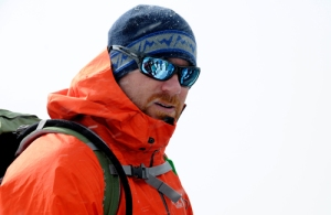 Climber Steve Ballard during snow school on Mt. Hood.