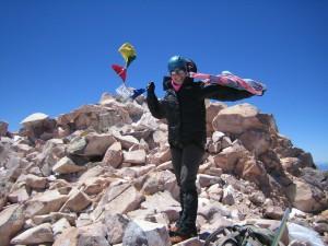 Climber Carol Roll summits Mt. Shasta.