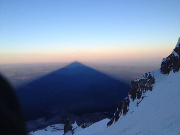 High on the flanks of Mt. Hood at sunrise, June 14. PC: Theresa Kaser