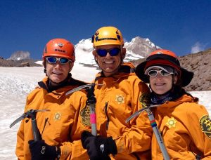 Montrose Search & Rescue summits Mt. Hood. We've been blessed to count them as supporters for many years. Pictured Robert Sheedy, Mike Leum & Cindy England. PC; Mike Leum